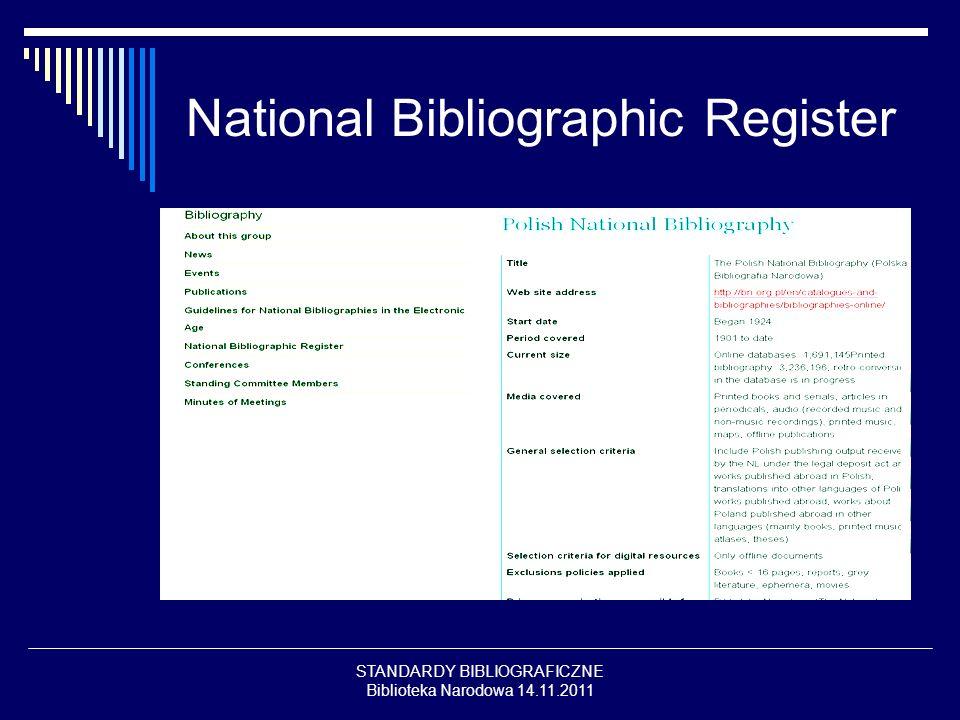 STANDARDY BIBLIOGRAFICZNE Biblioteka Narodowa 14.11.2011 PUBLIKACJE Guidelines for National Bibliographies in the Electronic Age (2009) edited by Maja Zumer http://www.ifla.org/en/node/5226