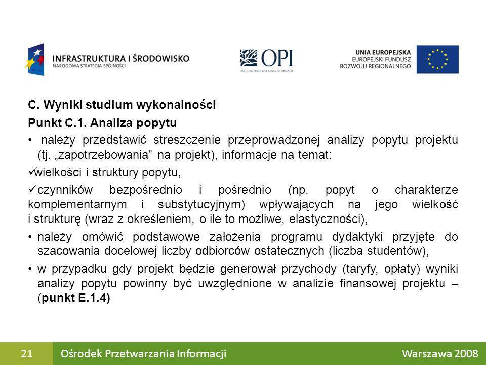 C. Wyniki studium wykonalności Punkt C.1. Analiza popytu należy przedstawić streszczenie przeprowadzonej analizy popytu projektu (tj. zapotrzebowania
