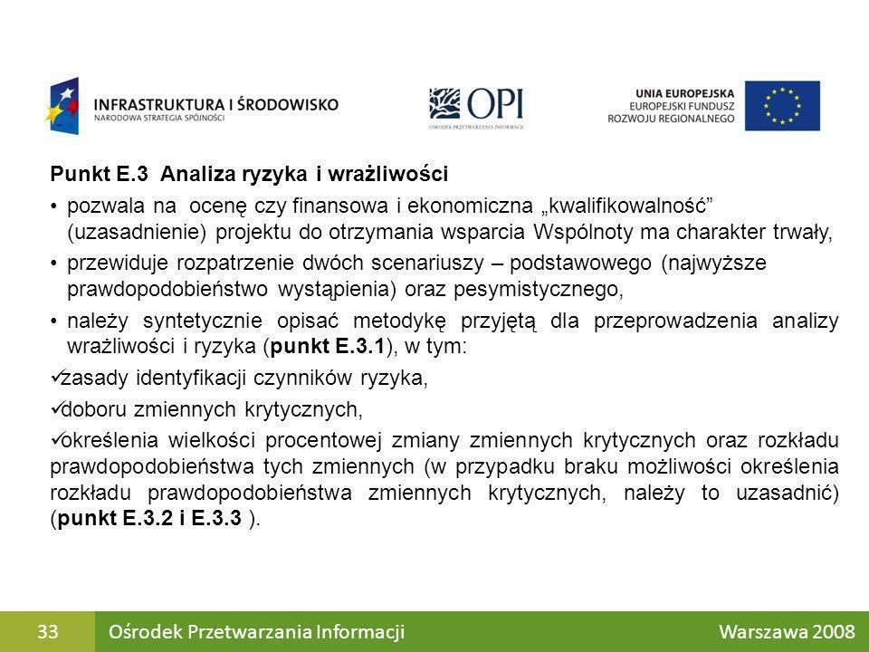 Punkt E.3 Analiza ryzyka i wrażliwości pozwala na ocenę czy finansowa i ekonomiczna kwalifikowalność (uzasadnienie) projektu do otrzymania wsparcia Ws