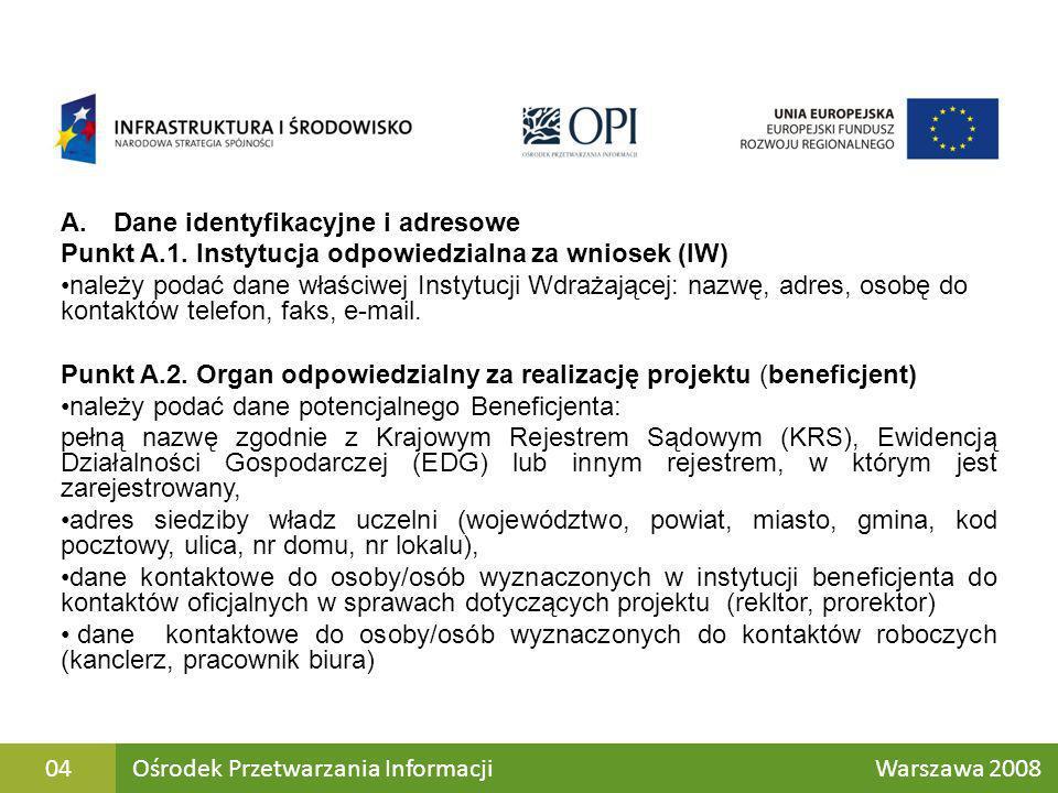 Wyjątki dotyczące dużych projektów: Punkt A.1.