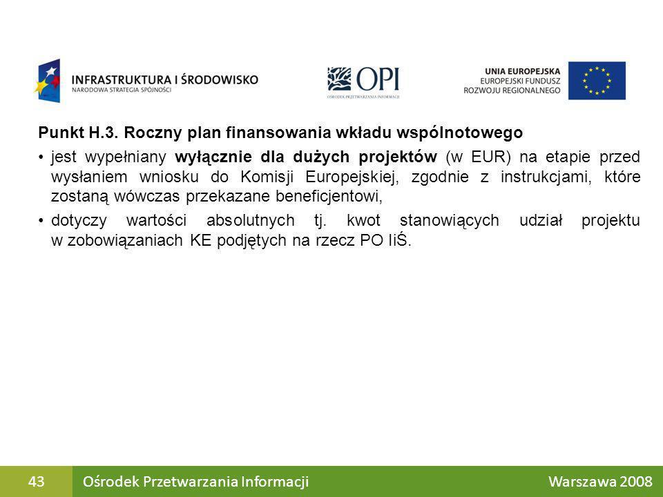 Punkt H.3. Roczny plan finansowania wkładu wspólnotowego jest wypełniany wyłącznie dla dużych projektów (w EUR) na etapie przed wysłaniem wniosku do K