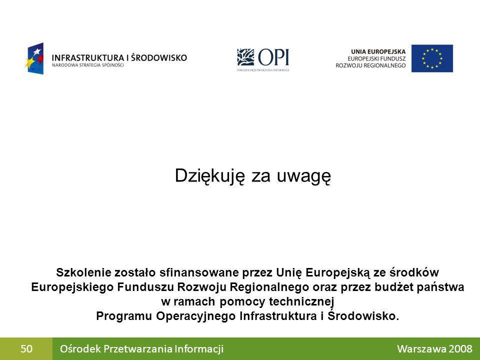 Ośrodek Przetwarzania Informacji Warszawa 200850 Dziękuję za uwagę Szkolenie zostało sfinansowane przez Unię Europejską ze środków Europejskiego Fundu