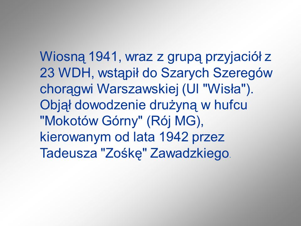 Wiosną 1941, wraz z grupą przyjaciół z 23 WDH, wstąpił do Szarych Szeregów chorągwi Warszawskiej (Ul