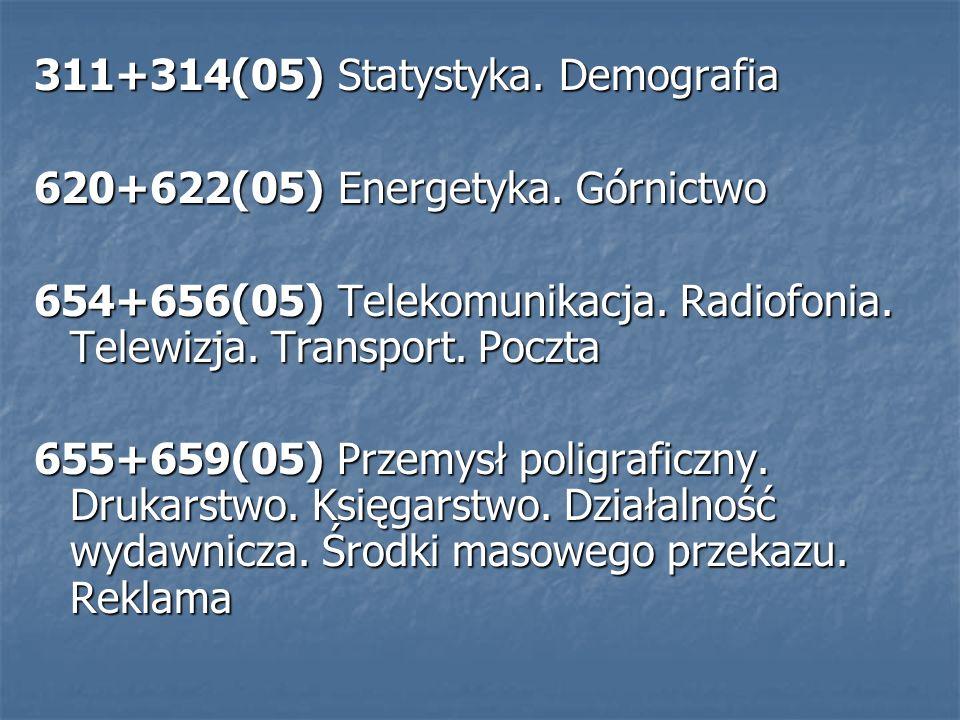 311+314(05) Statystyka. Demografia 620+622(05) Energetyka.