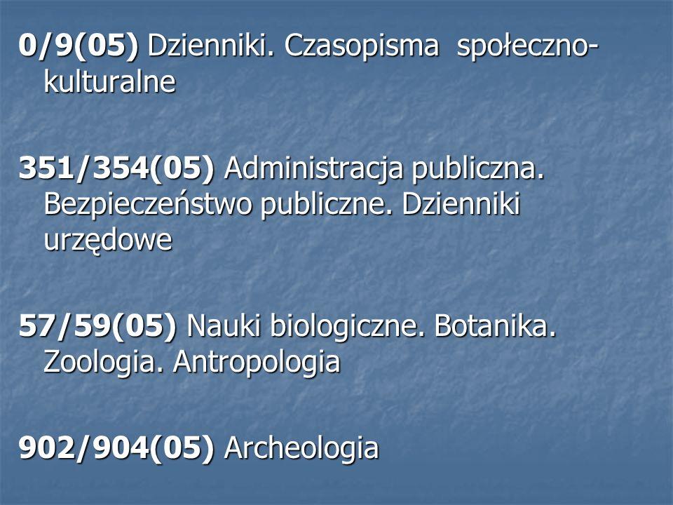 0/9(05) Dzienniki. Czasopisma społeczno- kulturalne 351/354(05) Administracja publiczna.