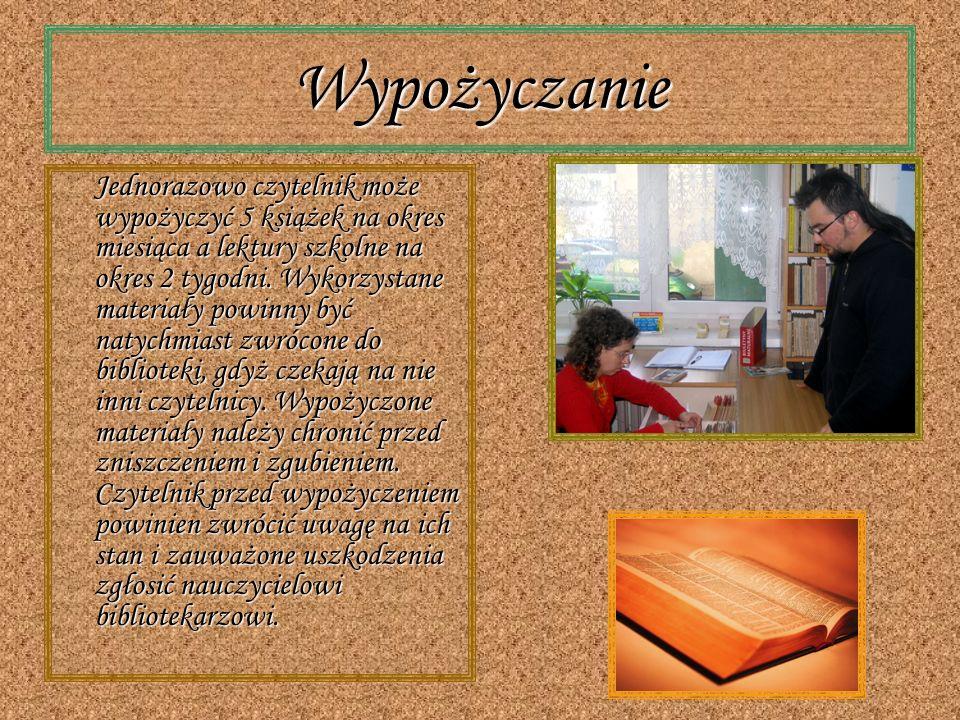 Internet W naszej bibliotece znajdują się również komputery mogą z nich korzystać wszyscy uczniowie i pracownicy szkoły w godzinach pracy b iblioteki.