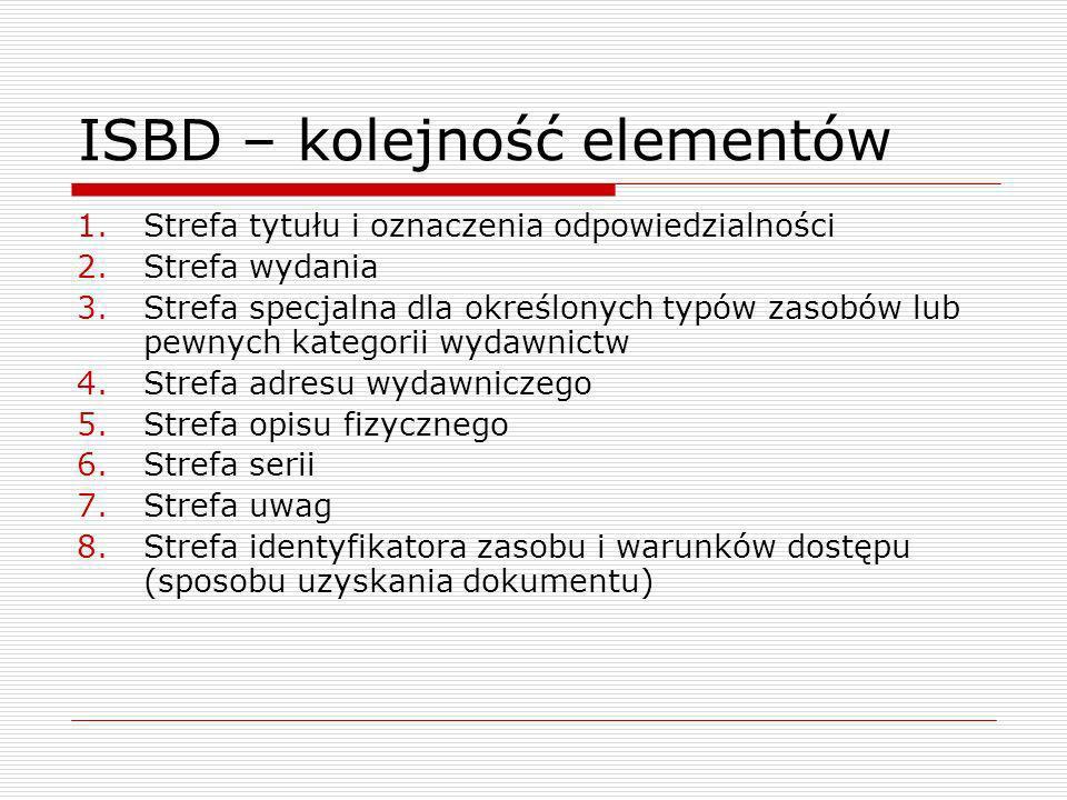 ISBD – kolejność elementów 1.Strefa tytułu i oznaczenia odpowiedzialności 2.Strefa wydania 3.Strefa specjalna dla określonych typów zasobów lub pewnych kategorii wydawnictw 4.Strefa adresu wydawniczego 5.Strefa opisu fizycznego 6.Strefa serii 7.Strefa uwag 8.Strefa identyfikatora zasobu i warunków dostępu (sposobu uzyskania dokumentu)