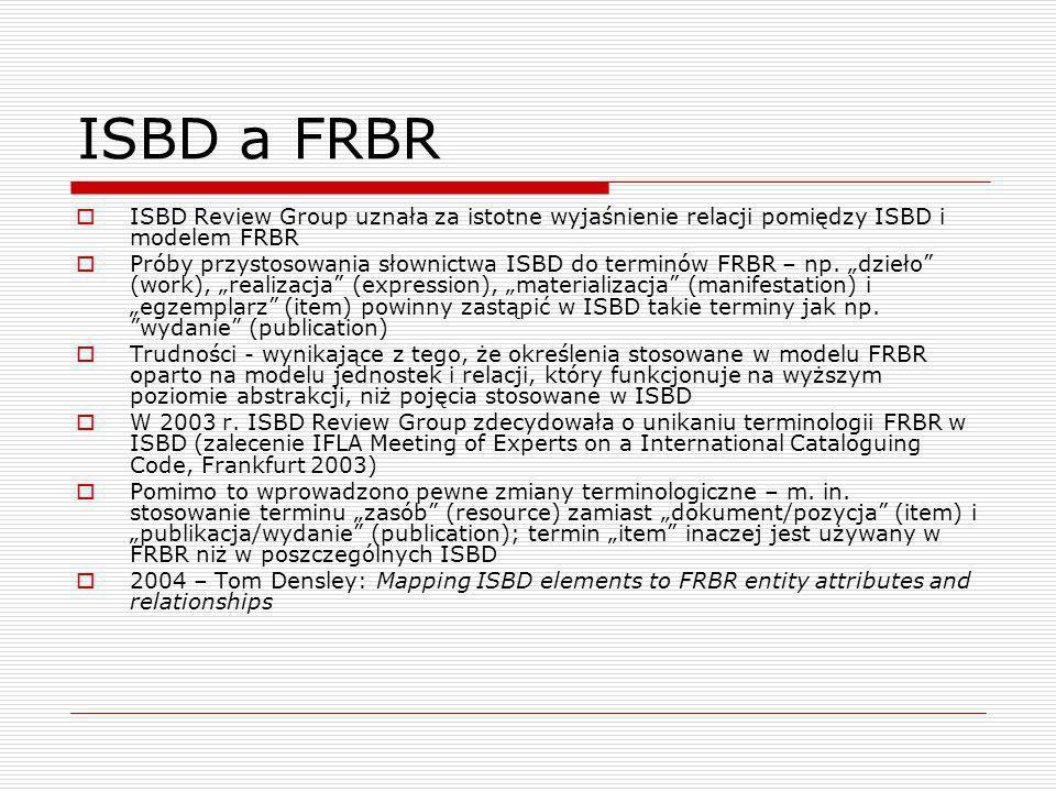 ISBD a FRBR ISBD Review Group uznała za istotne wyjaśnienie relacji pomiędzy ISBD i modelem FRBR Próby przystosowania słownictwa ISBD do terminów FRBR – np.