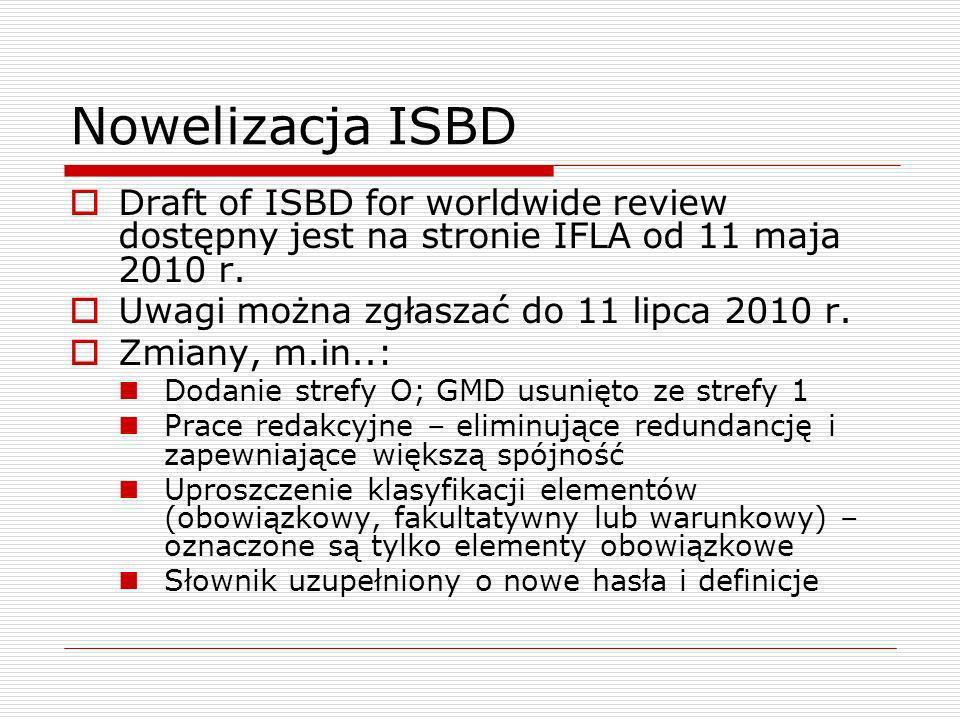 Nowelizacja ISBD Draft of ISBD for worldwide review dostępny jest na stronie IFLA od 11 maja 2010 r. Uwagi można zgłaszać do 11 lipca 2010 r. Zmiany,