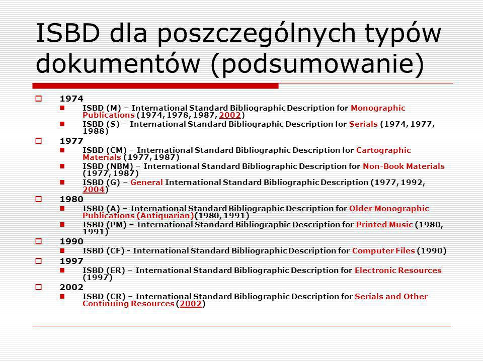ISBD Review Group Grupy robocze Material Designations Study Group Examples Supplement Study Group (2006-) ISBD/XML Study Group (2008-)
