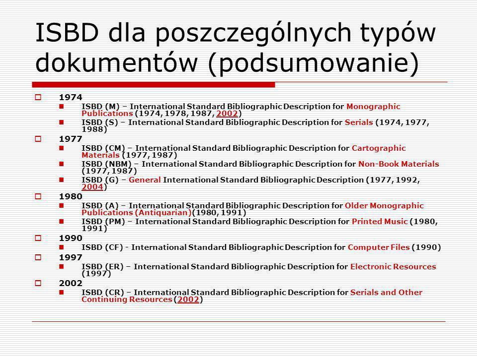 Study Group on Future Directions of the ISBDs 2003 – ISBD Review Group powołuje Study Group on Future Directions of the ISBDs Cele: Przygotowanie skonsolidowanego, uaktualnionego ISBD na podstawie ISBD dla poszczególnych typów dokumentów; zaspokojenie potrzeb katalogerów i innych użytkowników informacji bibliograficznych Przygotowanie spójnych postanowień dotyczących wszystkich typów dokumentów oraz specjalnych zasad dla zasobów specjalnych zgodnie z wymaganiami dotyczącymi ich opisu.