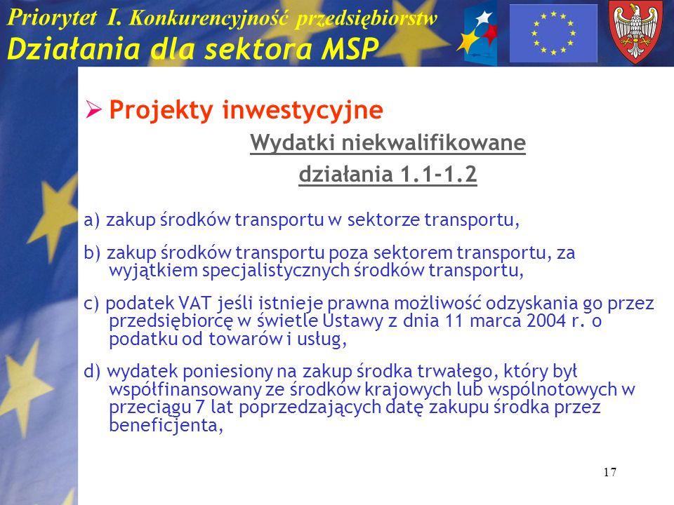 17 Priorytet I. Konkurencyjność przedsiębiorstw Działania dla sektora MSP Projekty inwestycyjne Wydatki niekwalifikowane działania 1.1-1.2 a) zakup śr