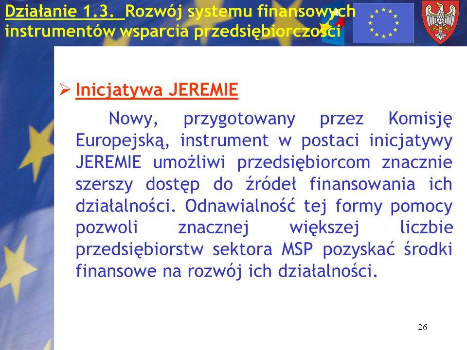 26 Inicjatywa JEREMIE Nowy, przygotowany przez Komisję Europejską, instrument w postaci inicjatywy JEREMIE umożliwi przedsiębiorcom znacznie szerszy dostęp do źródeł finansowania ich działalności.