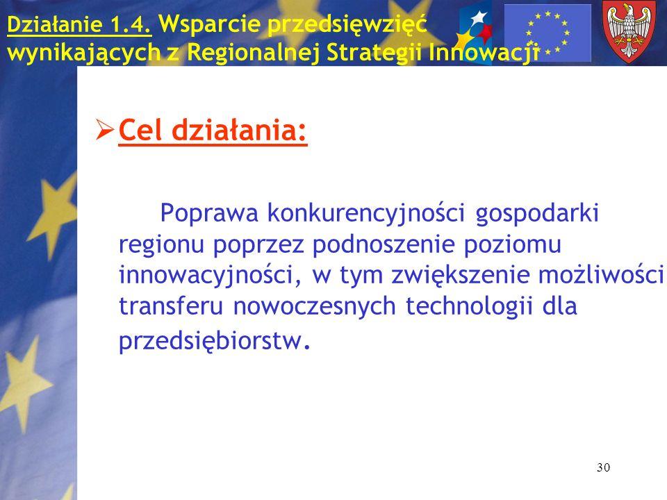 30 Działanie 1.4. Wsparcie przedsięwzięć wynikających z Regionalnej Strategii Innowacji Cel działania: Poprawa konkurencyjności gospodarki regionu pop