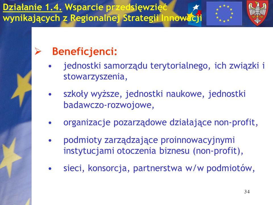 34 Beneficjenci: jednostki samorządu terytorialnego, ich związki i stowarzyszenia, szkoły wyższe, jednostki naukowe, jednostki badawczo-rozwojowe, organizacje pozarządowe działające non-profit, podmioty zarządzające proinnowacyjnymi instytucjami otoczenia biznesu (non-profit), sieci, konsorcja, partnerstwa w/w podmiotów, Działanie 1.4.