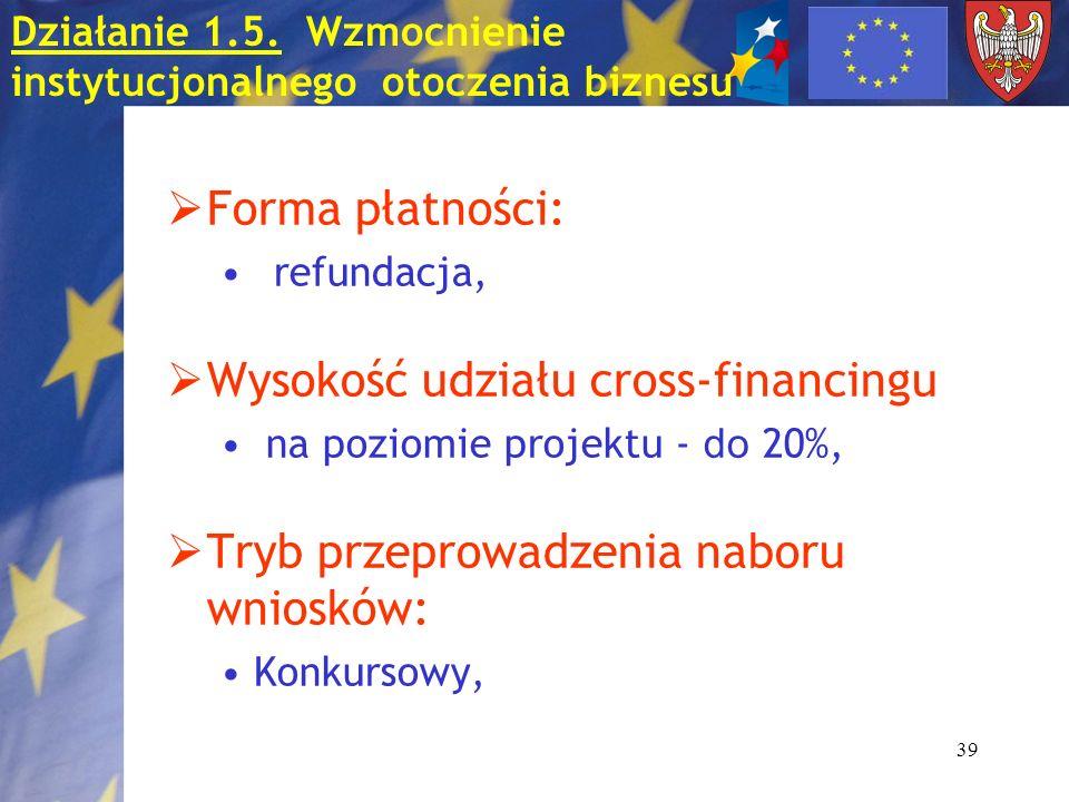 39 Forma płatności: refundacja, Wysokość udziału cross-financingu na poziomie projektu - do 20%, Tryb przeprowadzenia naboru wniosków: Konkursowy, Działanie 1.5.