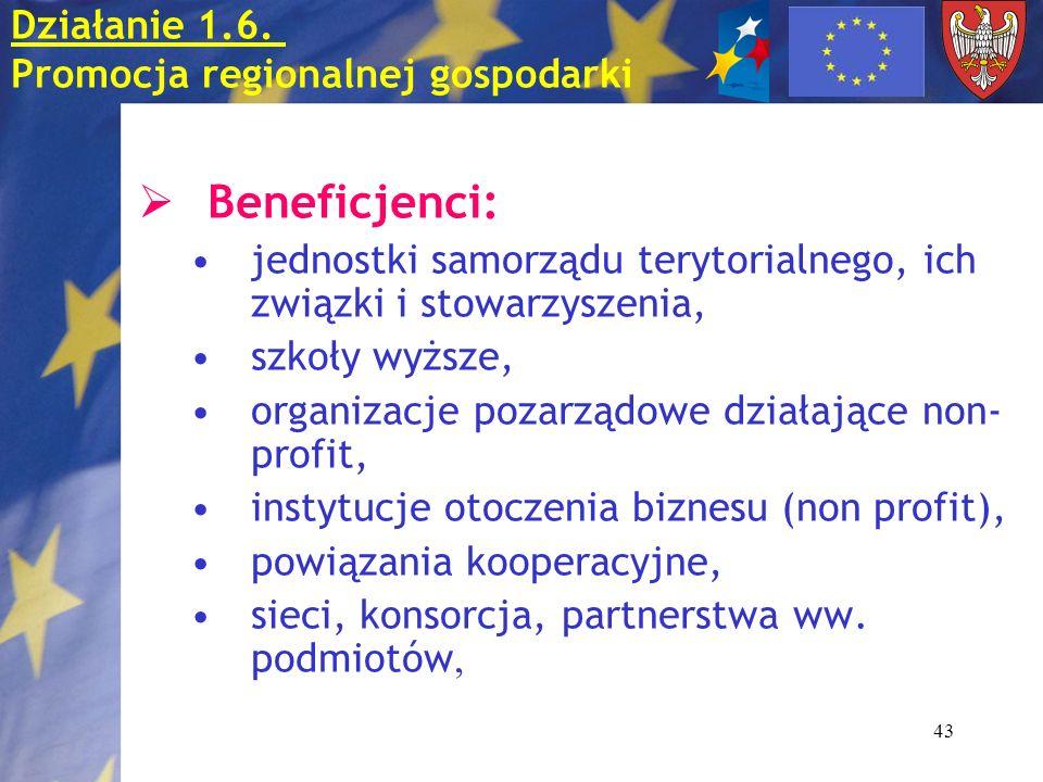 43 Beneficjenci: jednostki samorządu terytorialnego, ich związki i stowarzyszenia, szkoły wyższe, organizacje pozarządowe działające non- profit, inst