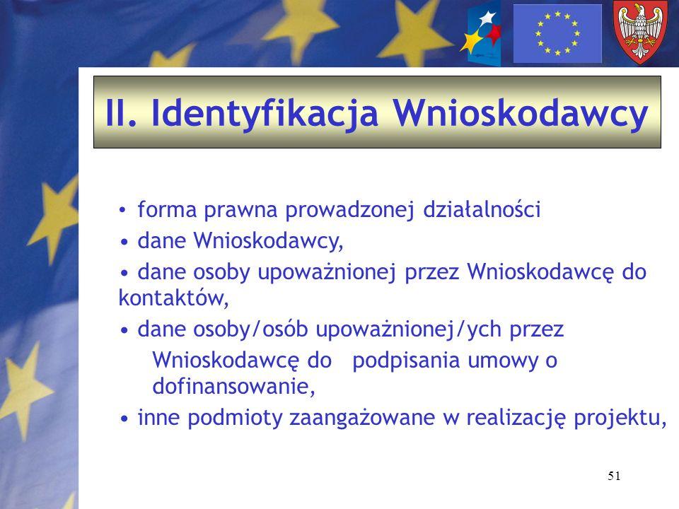 51 II. Identyfikacja Wnioskodawcy forma prawna prowadzonej działalności dane Wnioskodawcy, dane osoby upoważnionej przez Wnioskodawcę do kontaktów, da