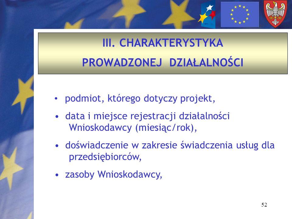52 III. CHARAKTERYSTYKA PROWADZONEJ DZIAŁALNOŚCI podmiot, którego dotyczy projekt, data i miejsce rejestracji działalności Wnioskodawcy (miesiąc/rok),
