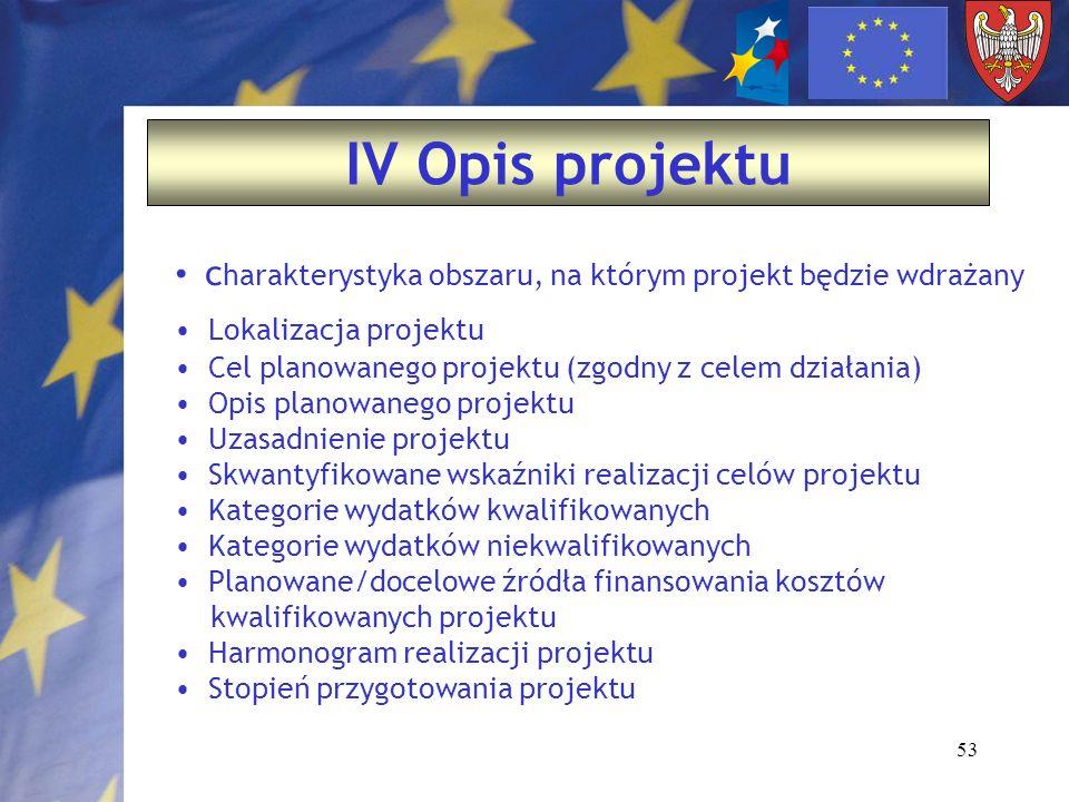 53 IV Opis projektu c harakterystyka obszaru, na którym projekt będzie wdrażany Lokalizacja projektu Cel planowanego projektu (zgodny z celem działani