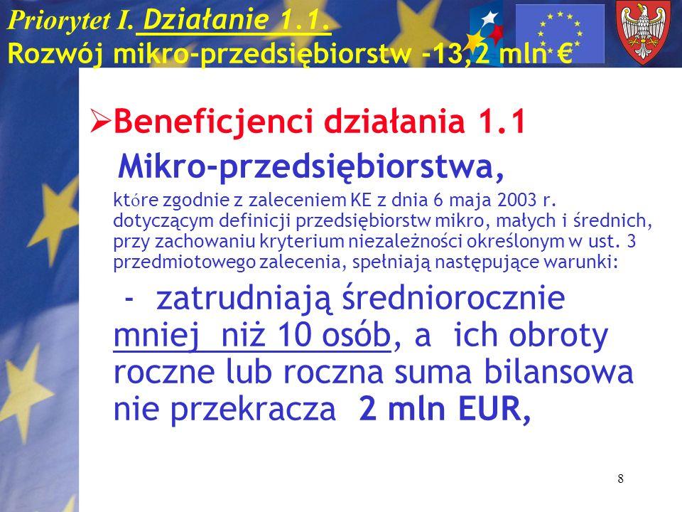 8 Priorytet I. Działanie 1.1. Rozwój mikro-przedsiębiorstw - 13,2 mln Beneficjenci działania 1.1 Mikro-przedsiębiorstwa, kt ó re zgodnie z zaleceniem