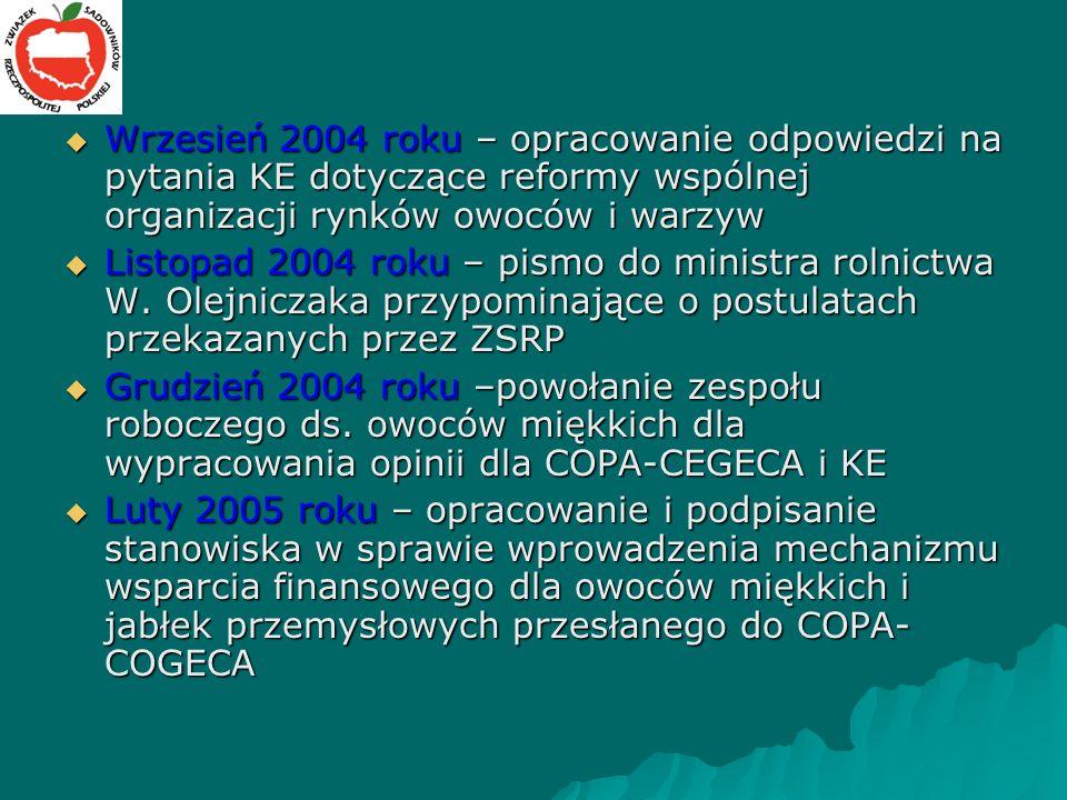 Wrzesień 2004 roku – opracowanie odpowiedzi na pytania KE dotyczące reformy wspólnej organizacji rynków owoców i warzyw Wrzesień 2004 roku – opracowanie odpowiedzi na pytania KE dotyczące reformy wspólnej organizacji rynków owoców i warzyw Listopad 2004 roku – pismo do ministra rolnictwa W.