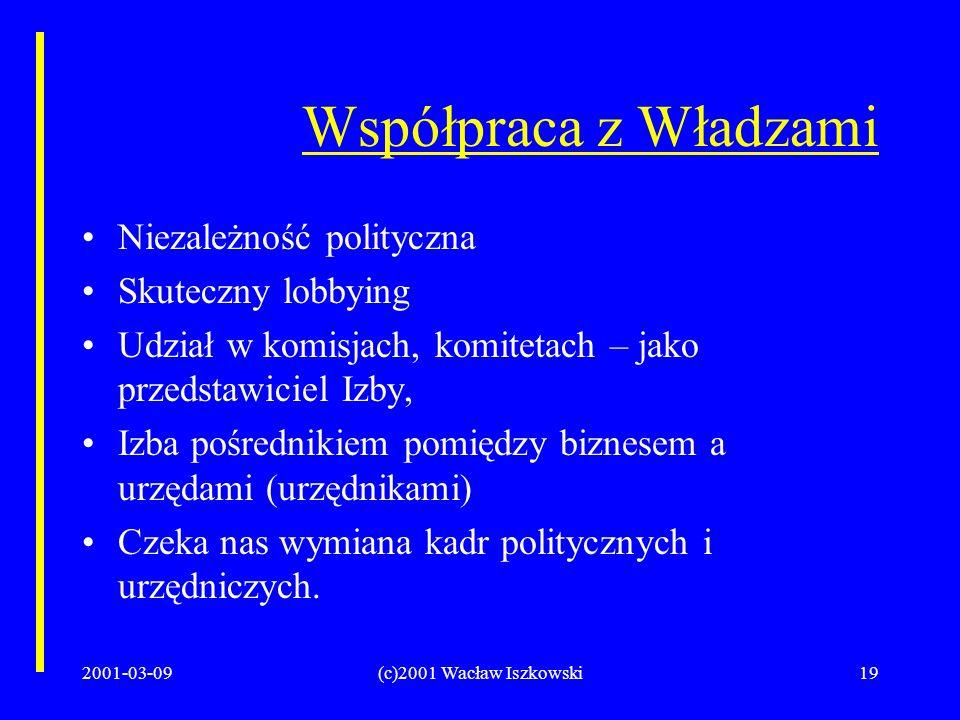 2001-03-09(c)2001 Wacław Iszkowski19 Współpraca z Władzami Niezależność polityczna Skuteczny lobbying Udział w komisjach, komitetach – jako przedstawiciel Izby, Izba pośrednikiem pomiędzy biznesem a urzędami (urzędnikami) Czeka nas wymiana kadr politycznych i urzędniczych.