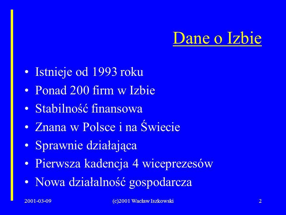 2001-03-09(c)2001 Wacław Iszkowski2 Dane o Izbie Istnieje od 1993 roku Ponad 200 firm w Izbie Stabilność finansowa Znana w Polsce i na Świecie Sprawnie działająca Pierwsza kadencja 4 wiceprezesów Nowa działalność gospodarcza