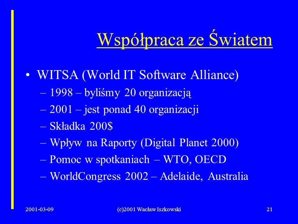 2001-03-09(c)2001 Wacław Iszkowski21 Współpraca ze Światem WITSA (World IT Software Alliance) –1998 – byliśmy 20 organizacją –2001 – jest ponad 40 organizacji –Składka 200$ –Wpływ na Raporty (Digital Planet 2000) –Pomoc w spotkaniach – WTO, OECD –WorldCongress 2002 – Adelaide, Australia