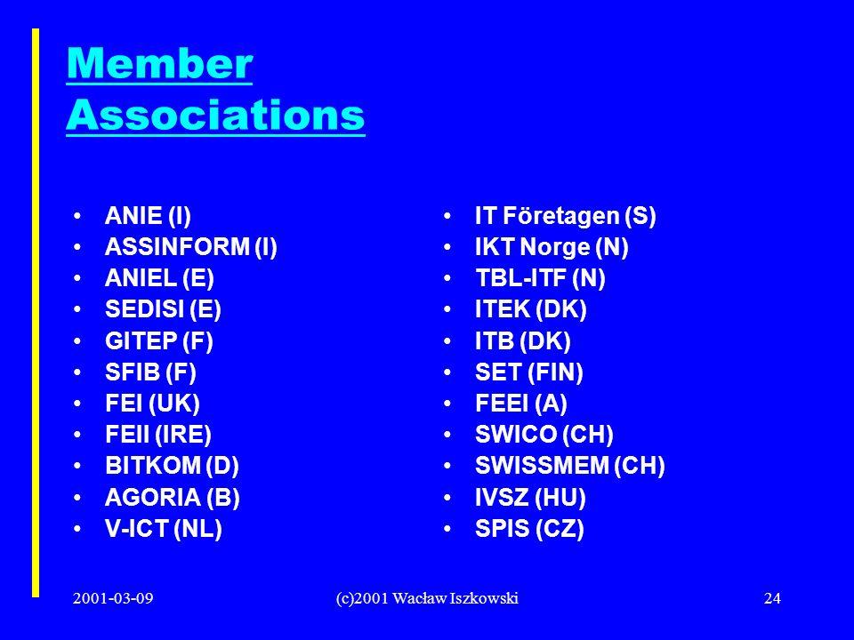 2001-03-09(c)2001 Wacław Iszkowski24 Member Associations ANIE (I) ASSINFORM (I) ANIEL (E) SEDISI (E) GITEP (F) SFIB (F) FEI (UK) FEII (IRE) BITKOM (D) AGORIA (B) V-ICT (NL) IT Företagen (S) IKT Norge (N) TBL-ITF (N) ITEK (DK) ITB (DK) SET (FIN) FEEI (A) SWICO (CH) SWISSMEM (CH) IVSZ (HU) SPIS (CZ)