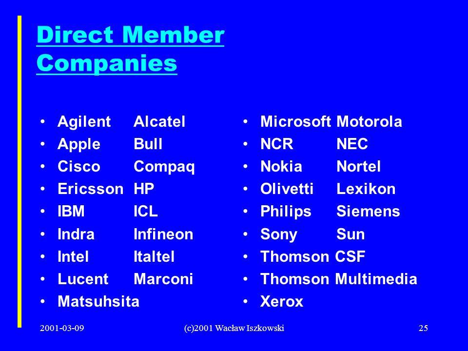 2001-03-09(c)2001 Wacław Iszkowski25 Direct Member Companies AgilentAlcatel AppleBull CiscoCompaq EricssonHP IBMICL IndraInfineon IntelItaltel LucentM