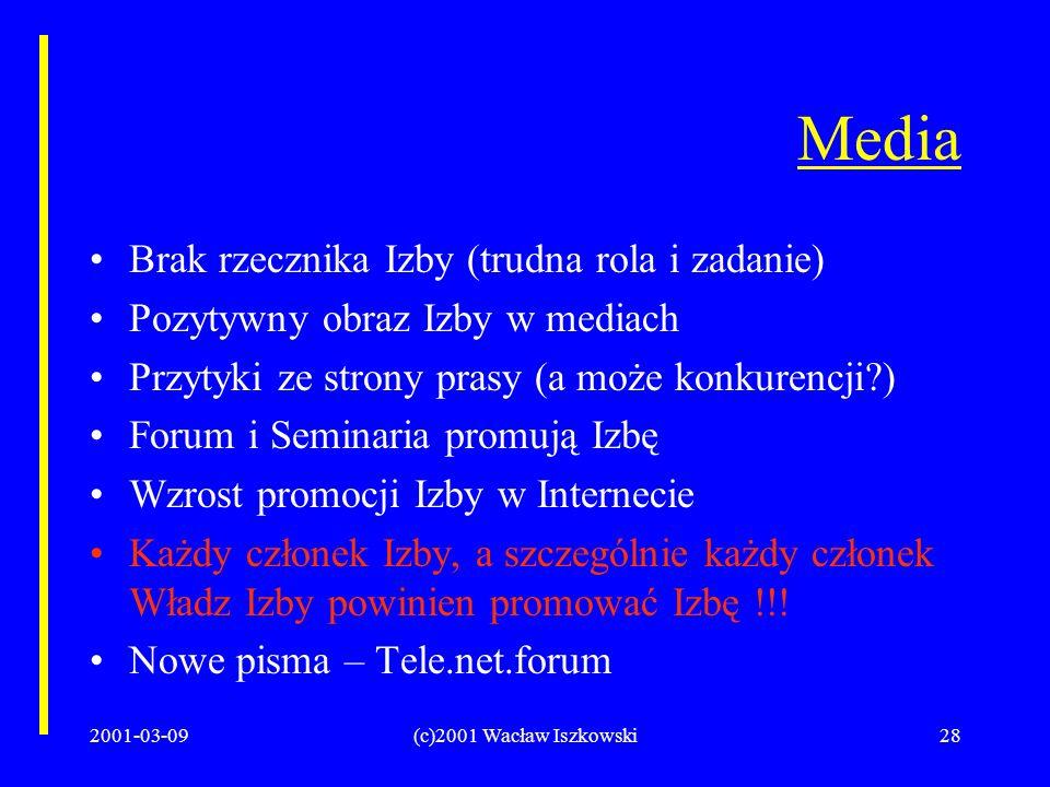 2001-03-09(c)2001 Wacław Iszkowski28 Media Brak rzecznika Izby (trudna rola i zadanie) Pozytywny obraz Izby w mediach Przytyki ze strony prasy (a może