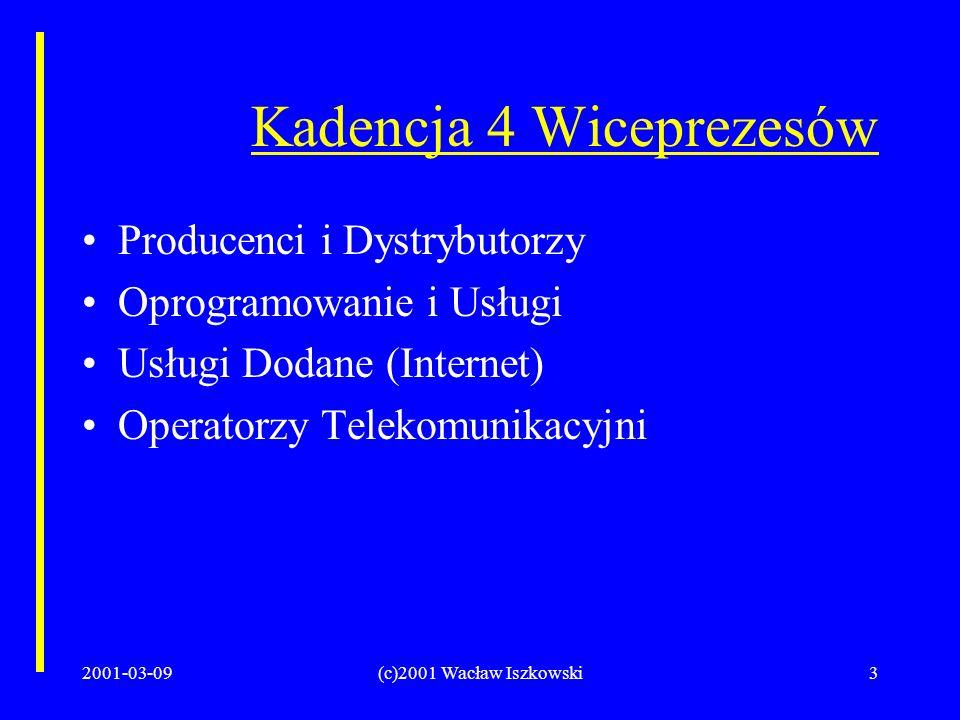2001-03-09(c)2001 Wacław Iszkowski3 Kadencja 4 Wiceprezesów Producenci i Dystrybutorzy Oprogramowanie i Usługi Usługi Dodane (Internet) Operatorzy Telekomunikacyjni