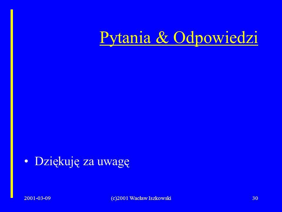 2001-03-09(c)2001 Wacław Iszkowski30 Pytania & Odpowiedzi Dziękuję za uwagę