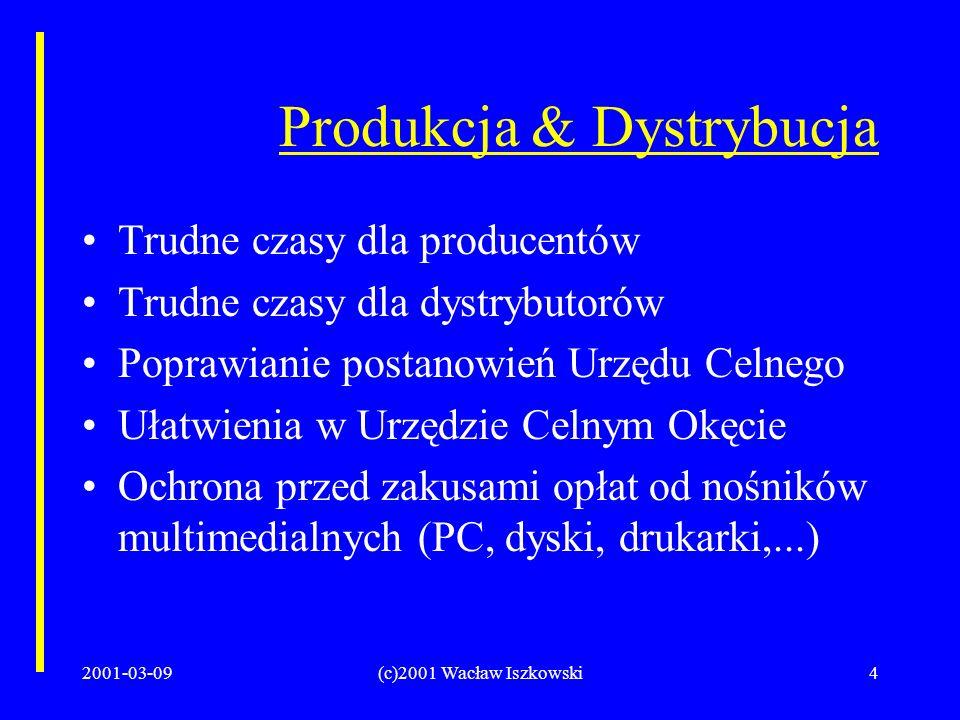 2001-03-09(c)2001 Wacław Iszkowski4 Produkcja & Dystrybucja Trudne czasy dla producentów Trudne czasy dla dystrybutorów Poprawianie postanowień Urzędu