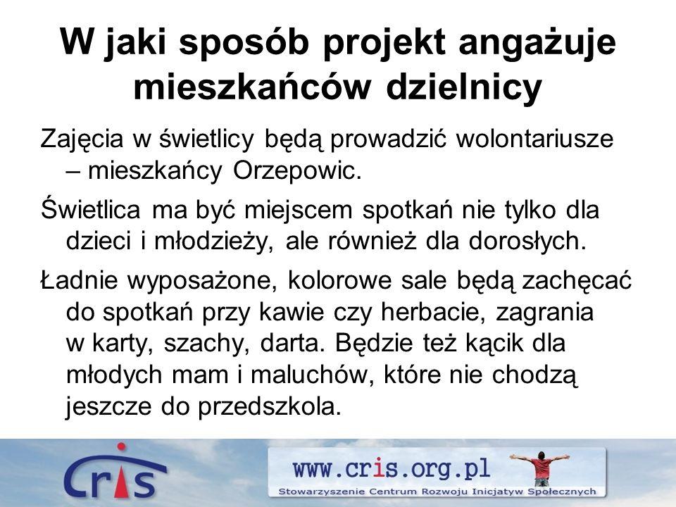 W jaki sposób projekt angażuje mieszkańców dzielnicy Zajęcia w świetlicy będą prowadzić wolontariusze – mieszkańcy Orzepowic.