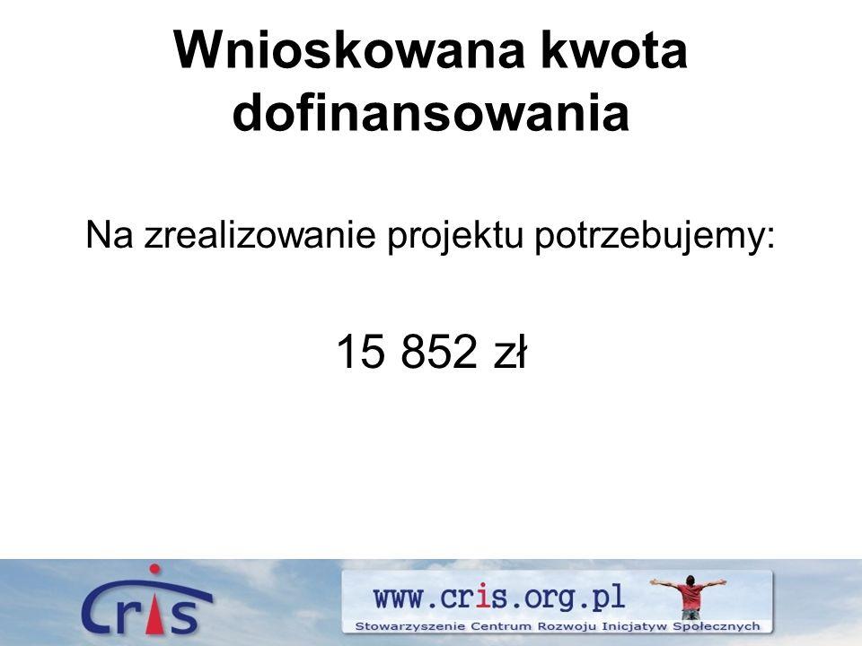 Wnioskowana kwota dofinansowania Na zrealizowanie projektu potrzebujemy: 15 852 zł