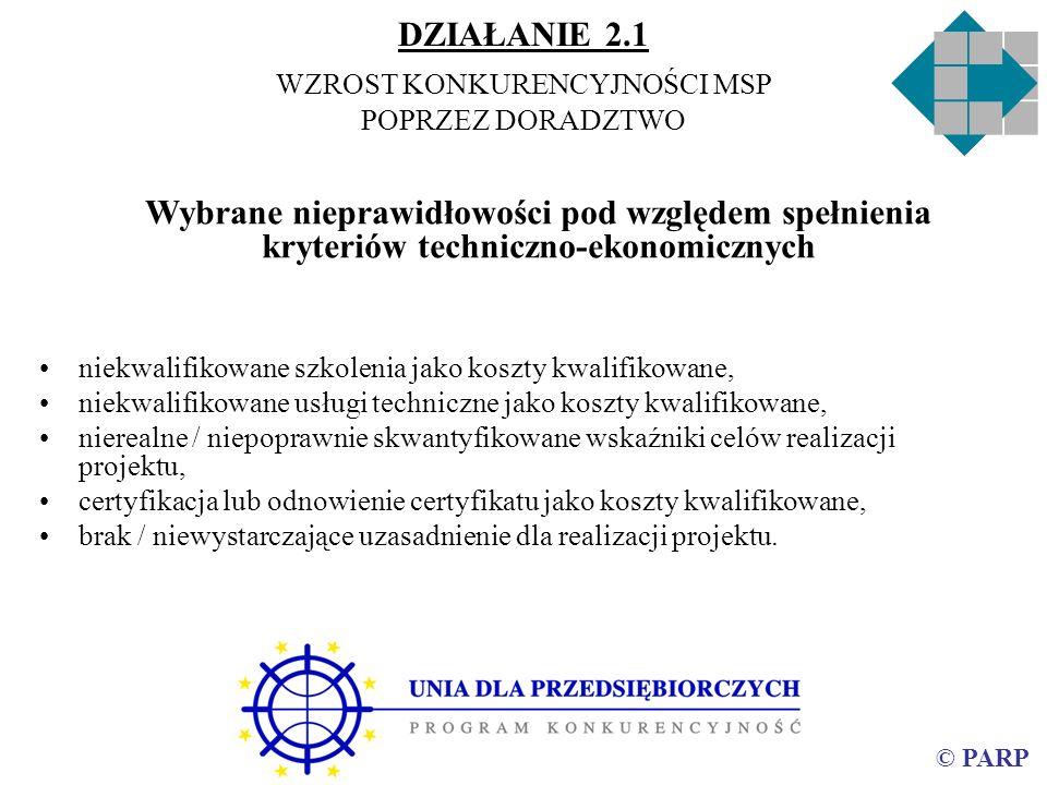 © PARP Wybrane nieprawidłowości pod względem spełnienia kryteriów techniczno-ekonomicznych niekwalifikowane szkolenia jako koszty kwalifikowane, niekw