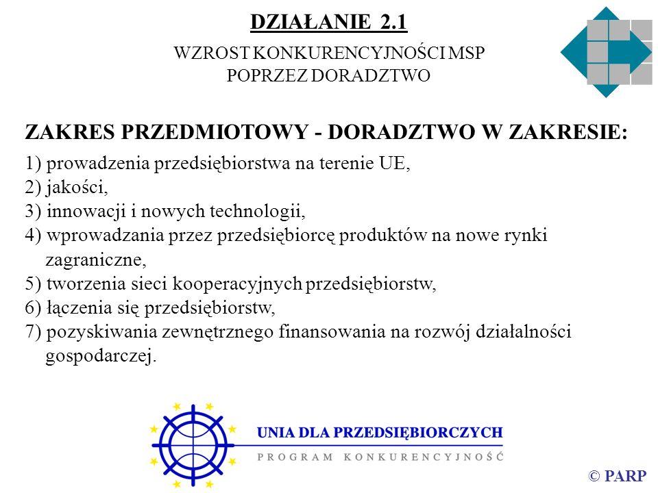 © PARP ZAKRES PRZEDMIOTOWY - DORADZTWO W ZAKRESIE: 1) prowadzenia przedsiębiorstwa na terenie UE, 2) jakości, 3) innowacji i nowych technologii, 4) wp