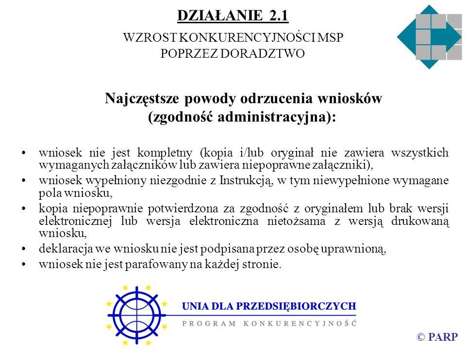 © PARP Najczęstsze powody odrzucenia wniosków (zgodność administracyjna): wniosek nie jest kompletny (kopia i/lub oryginał nie zawiera wszystkich wyma