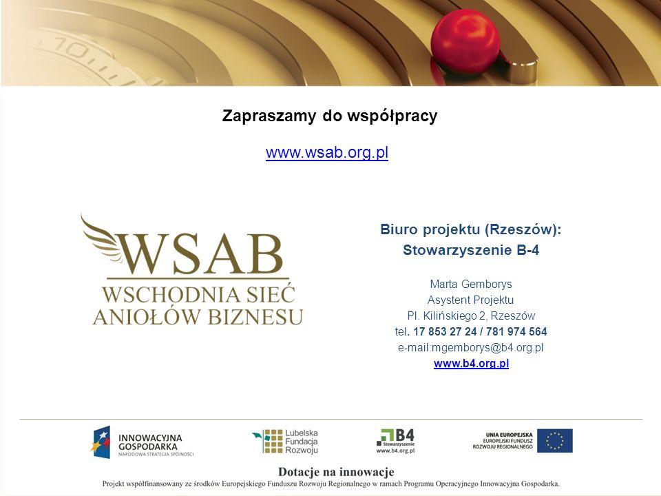 www.wsab.org.pl Zapraszamy do współpracy Biuro projektu (Rzeszów): Stowarzyszenie B-4 Marta Gemborys Asystent Projektu Pl.
