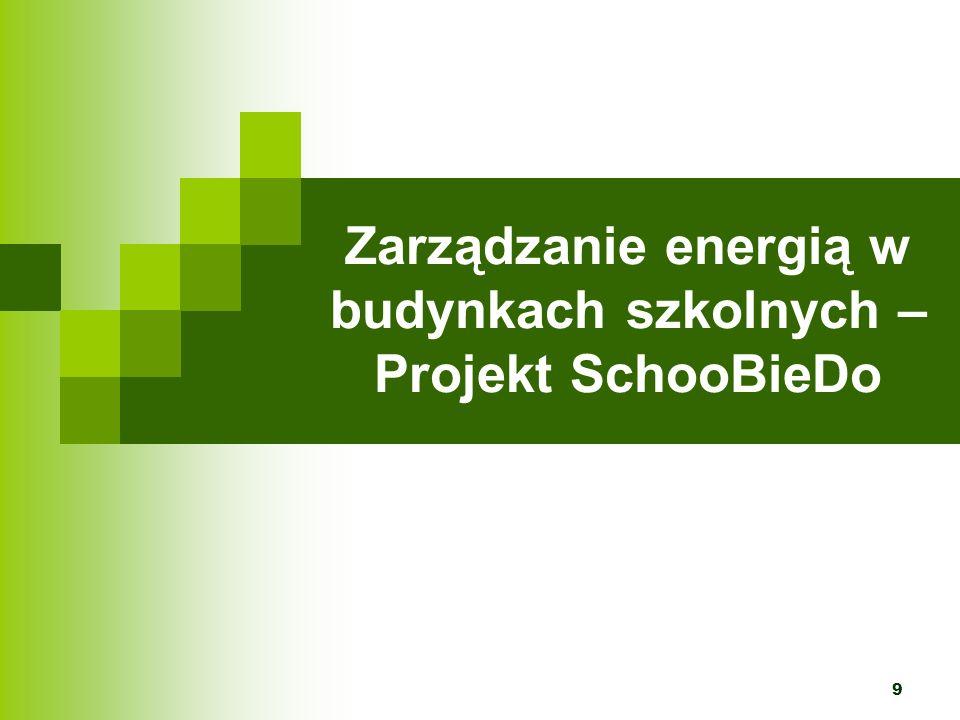 Projekt SchooBieDo Nazwa pochodzi od angielskiej wersji tytułu projektu: School Buildings Integrated Energy Development Operation, tzn.: Działania na rzecz rozwoju zintegrowanego zarządzania energią w budynkach szkolnych Przedmiotem jest zarządzanie energią oraz wykorzystanie odnawialnych źródeł energii w budynkach komunalnych na terenie Irlandii, Rumunii i Polski.