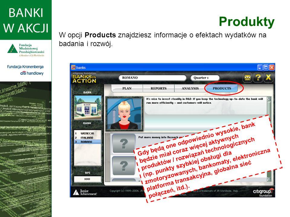 W opcji Products znajdziesz informacje o efektach wydatków na badania i rozwój.