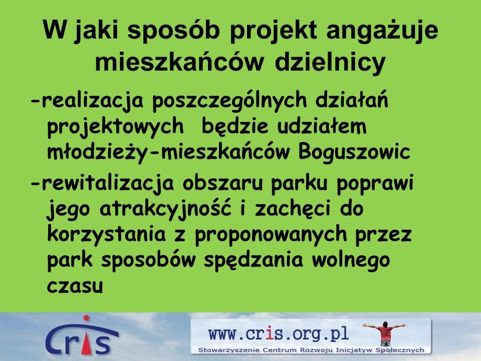 W jaki sposób projekt angażuje mieszkańców dzielnicy -realizacja poszczególnych działań projektowych będzie udziałem młodzieży-mieszkańców Boguszowic -rewitalizacja obszaru parku poprawi jego atrakcyjność i zachęci do korzystania z proponowanych przez park sposobów spędzania wolnego czasu