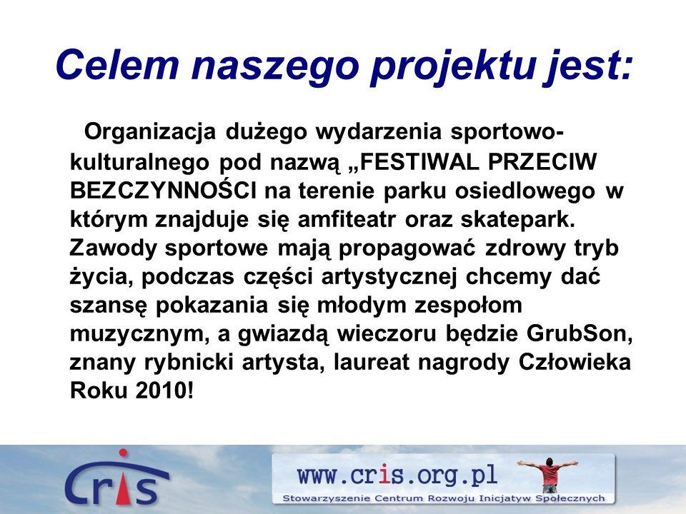Celem naszego projektu jest: Organizacja dużego wydarzenia sportowo- kulturalnego pod nazwą FESTIWAL PRZECIW BEZCZYNNOŚCI na terenie parku osiedlowego w którym znajduje się amfiteatr oraz skatepark.