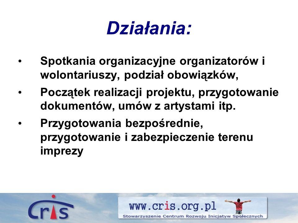 Działania: Spotkania organizacyjne organizatorów i wolontariuszy, podział obowiązków, Początek realizacji projektu, przygotowanie dokumentów, umów z artystami itp.