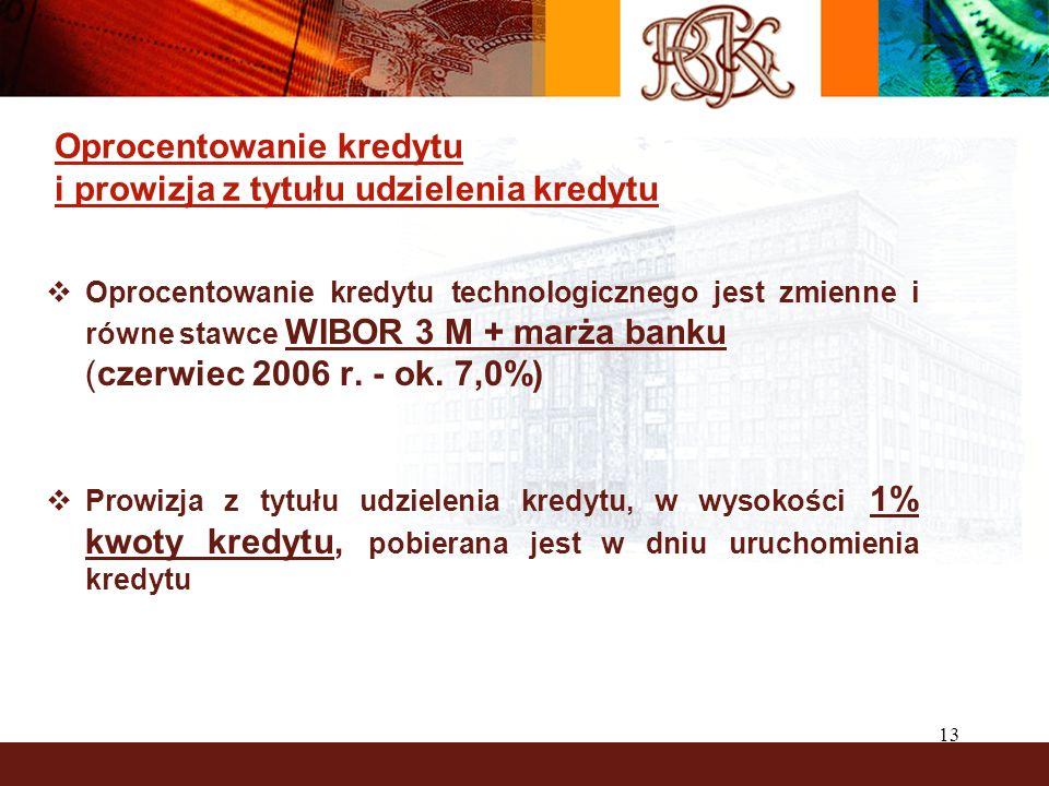 13 Oprocentowanie kredytu i prowizja z tytułu udzielenia kredytu Oprocentowanie kredytu technologicznego jest zmienne i równe stawce WIBOR 3 M + marża banku (czerwiec 2006 r.