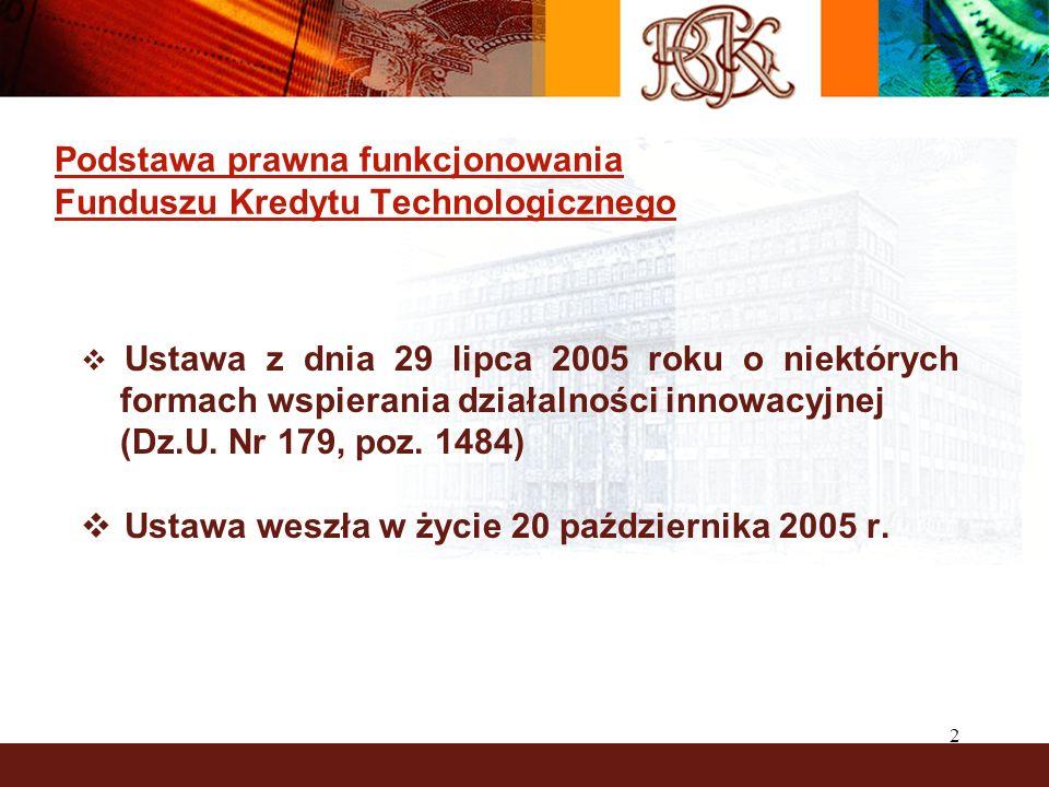 2 Podstawa prawna funkcjonowania Funduszu Kredytu Technologicznego Ustawa z dnia 29 lipca 2005 roku o niektórych formach wspierania działalności innowacyjnej (Dz.U.