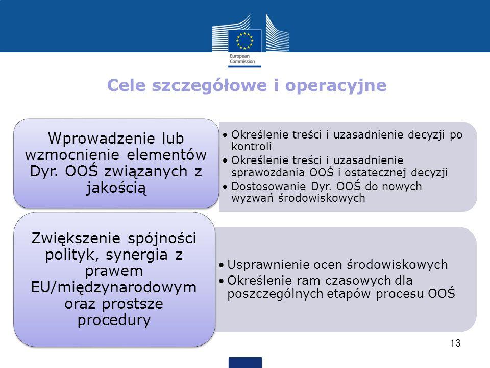 Cele szczegółowe i operacyjne Określenie treści i uzasadnienie decyzji po kontroli Określenie treści i uzasadnienie sprawozdania OOŚ i ostatecznej dec