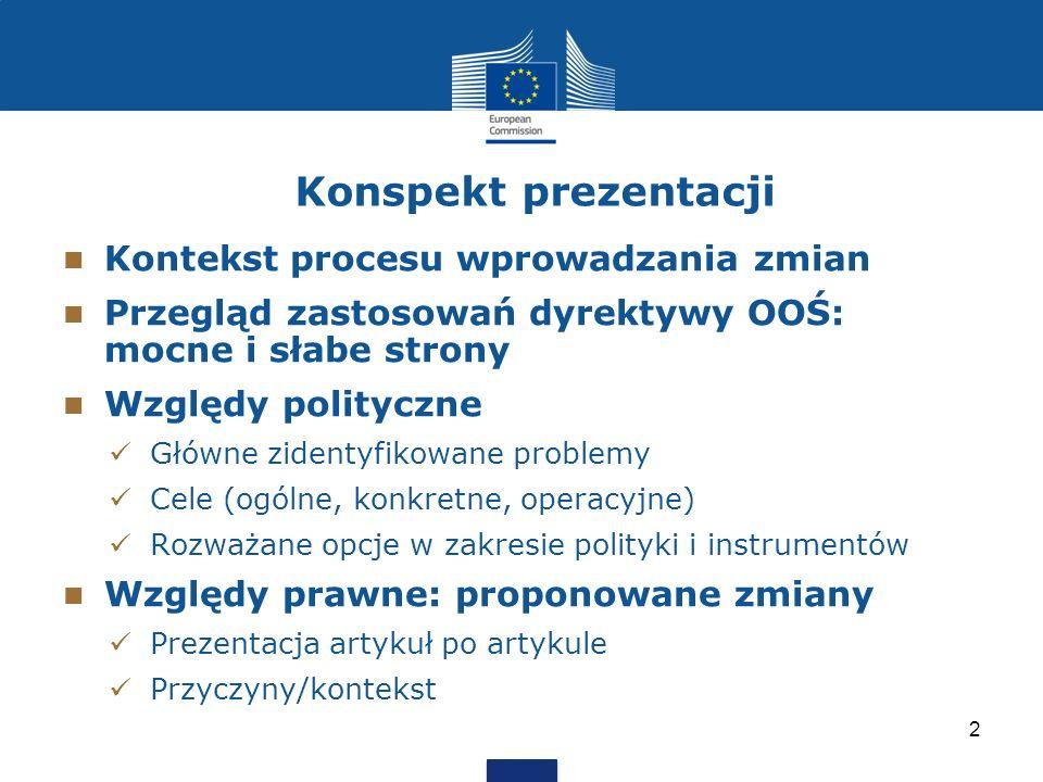 Konspekt prezentacji Kontekst procesu wprowadzania zmian Przegląd zastosowań dyrektywy OOŚ: mocne i słabe strony Względy polityczne Główne zidentyfiko